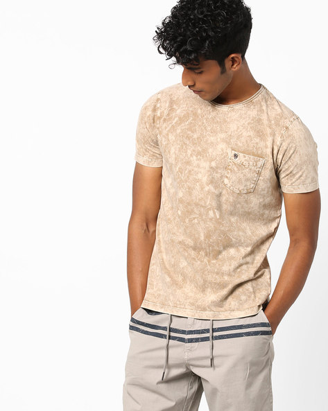 Crew-Neck T-shirt With Acid-Wash Effect By Killer ( Mustard )