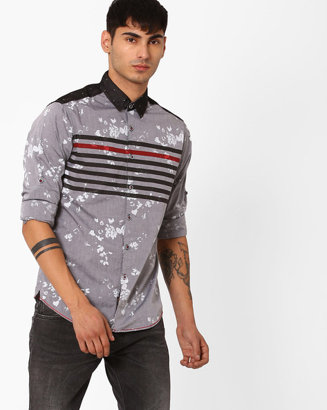 Floral Print Slim Fit Shirt By The Indian Garage Co ( Clearblack )