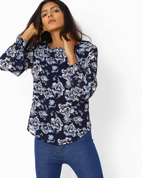 Floral Print Full Sleeves Top By Femella ( Navyblue )