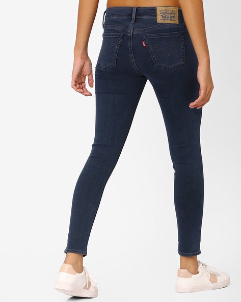 Skinny Fit Ankle-Length Jeans By LEVIS ( Blue )