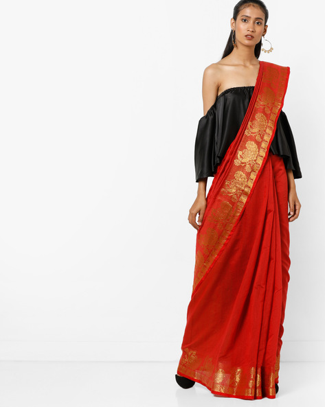Woven Saree With Zari Border By Florence ( Red )