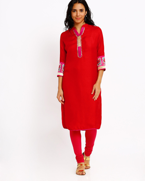 Kurta With Embroidery & Sequins By Indian Ink ( Red )