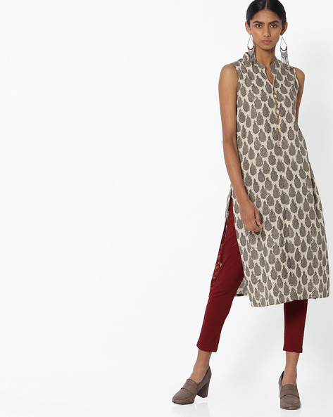 Floral Print Sleeveless Straight Kurta By SIYAHI ( Brown )