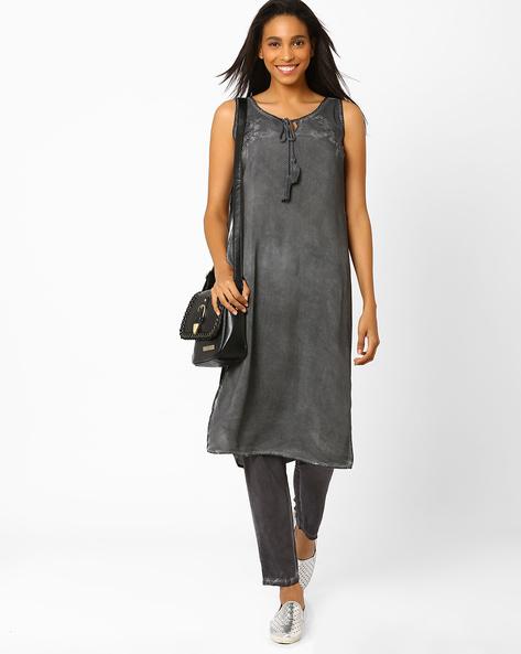 Sleeveless Dress With Tie-Ups By AJIO ( Grey )