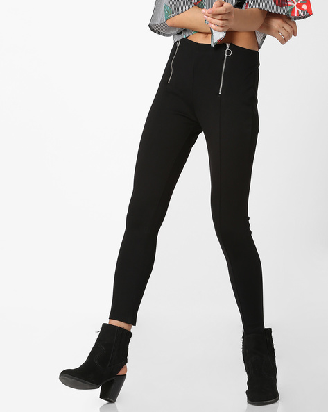Mid-Rise Ponte Trousers With Zippers By Ginger By Lifestyle ( Black )
