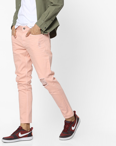 Light Distress Slim Fit Jeans By Blue Saint ( Lightpink )
