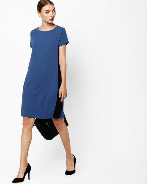 Shift Dress With Contrast Panels By AJIO ( Navyblue )