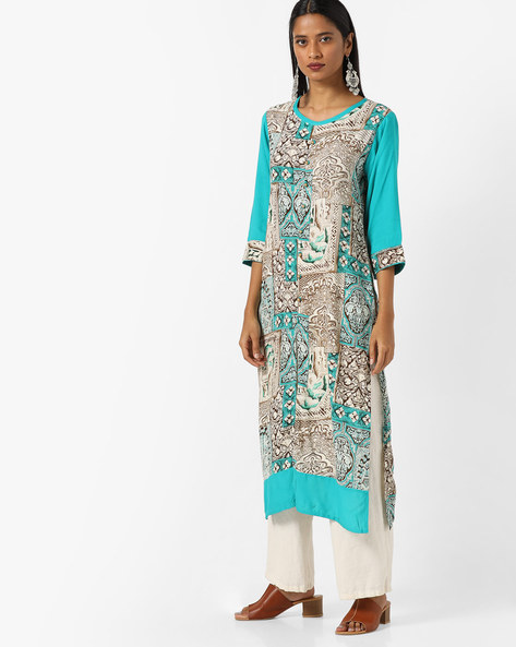 Printed Kurta With Front Slit By Shree ( Teal )