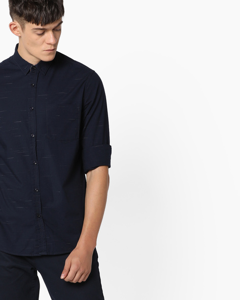 Printed Shirt With Patch Pocket By AJIO ( Blue )