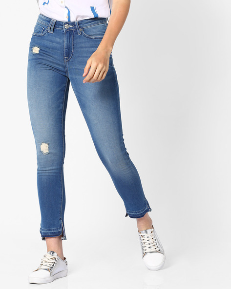 Lightly Washed Distressed Skinny Jeans By Lee ( Blue )