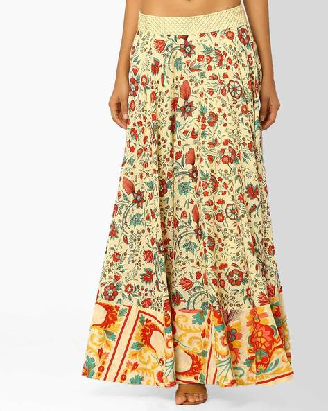 Floral Print Maxi Skirt By AJIO ( Yellow )