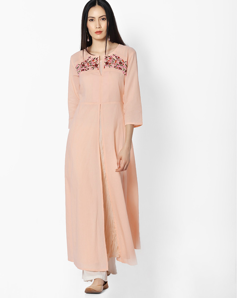 Embroidered Long Kurta With Front Slit By Khimsariya ( Peach )