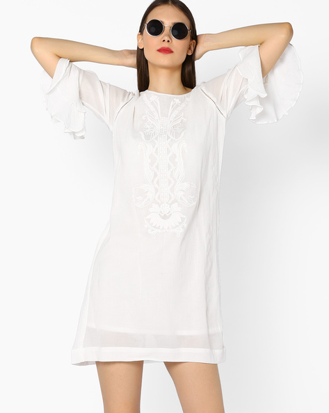 Shift Dress With Flared Sleeves By And ( White )