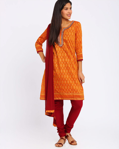 Printed Churidar Kurta With Dupatta By Trishaa By Pantaloons ( Orange )