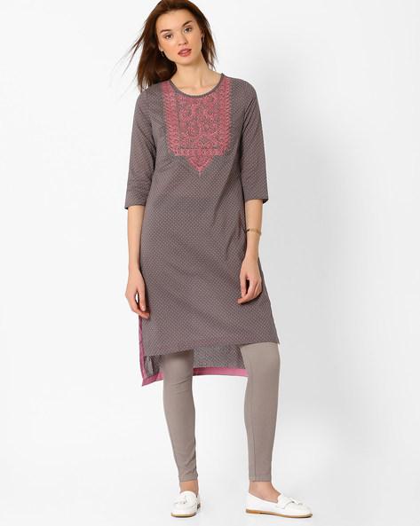 High-Low Kurta With Embroidery By AJIO ( Grey )
