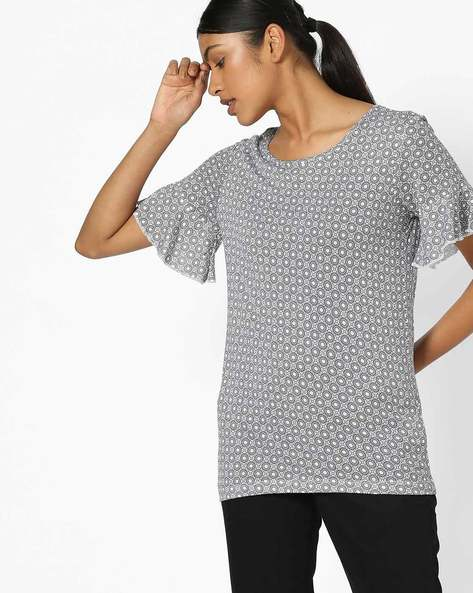 Printed T-shirt With Drop-Shoulders By FIG ( White )