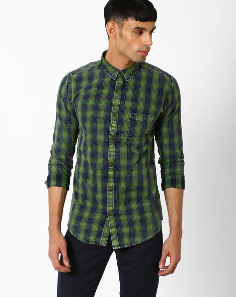 Slim Fit Cotton Checked Shirt By BASICS ( Green )