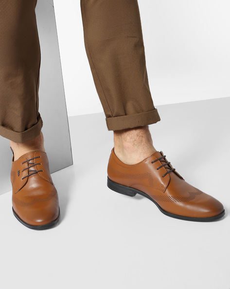 Genuine Leather Lace-Up Formal Shoes By Lee Cooper ( Tan )