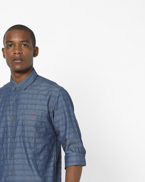 Slim Fit Self-Striped Shirt By Wills Lifestyle ( Blue )