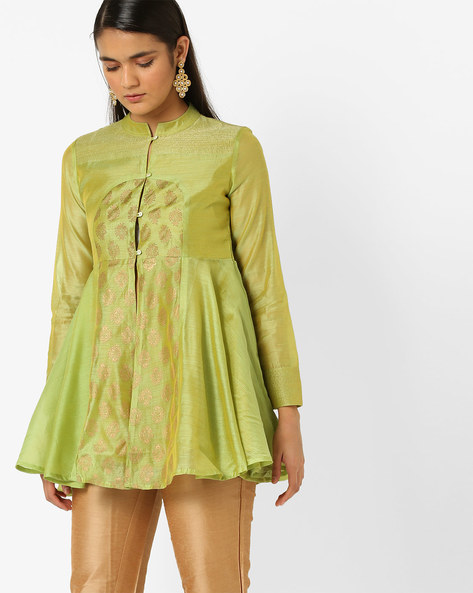 Embroidered Flare Tunic With Mandarin Collar By AJIO ( Lime )