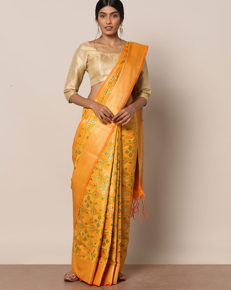 South Silk Patola Printed Saree By Pretty Woman ( Mustard )