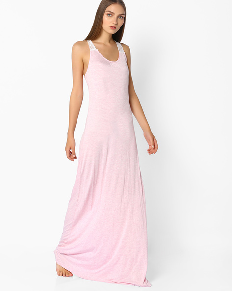 Maxi Night Gown With Lace Shoulder Straps By Mystere Paris ( Pink )