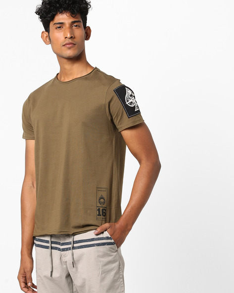 Crew-Neck T-shirt With Raw Edges By AJIO ( Olive )