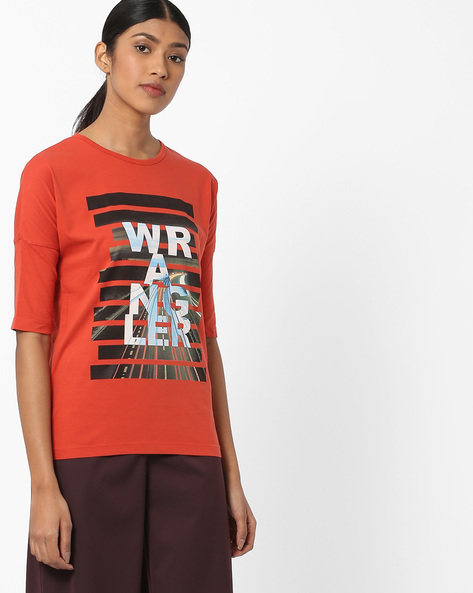 Graphic Print T-shirt With Drop Shoulders By WRANGLER ( Yellow )