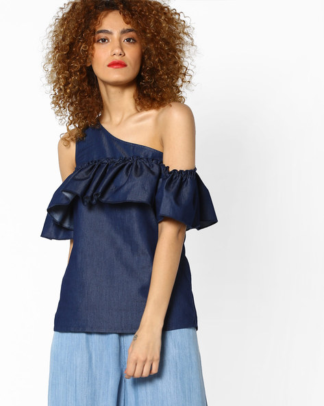 One-Shoulder Top With Ruffled Bodice By RI-DRESS ( Navy )