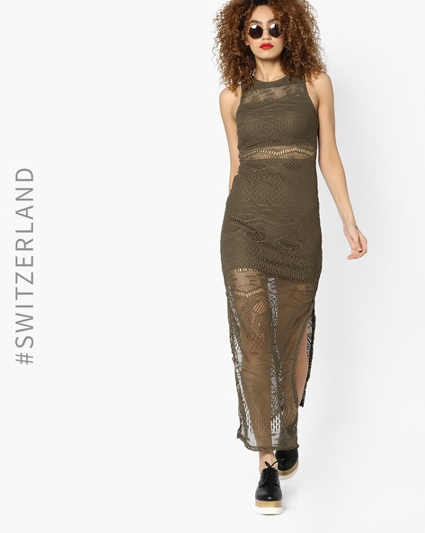 Lace Dress With Slits By TALLY WEiJL ( Brown )