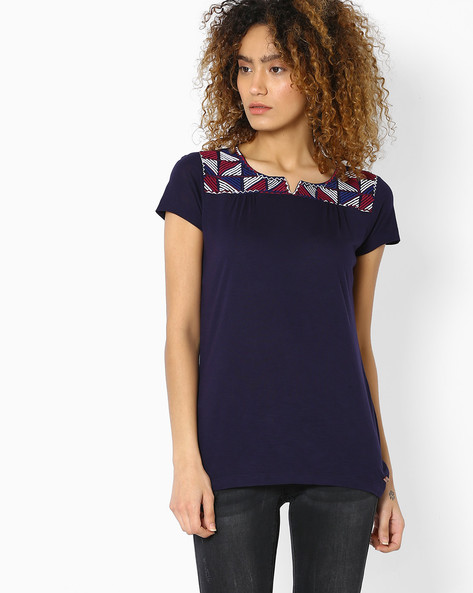 Top With Embroidered Yoke By DNM X ( Navy )