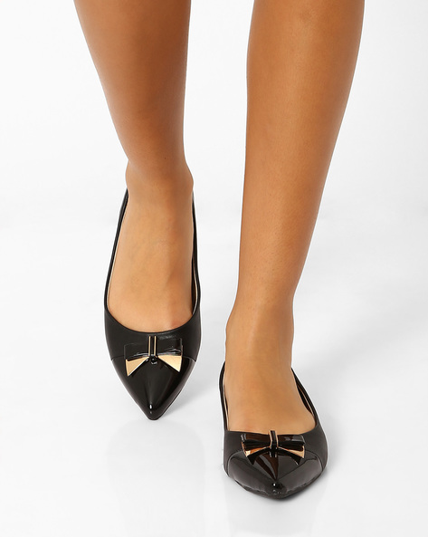 Pointy-Toe Ballerinas With Bow Detail By AJIO ( Black )