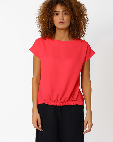 Top With Elasticated High-Low Hem By AJIO ( Fuchsia )