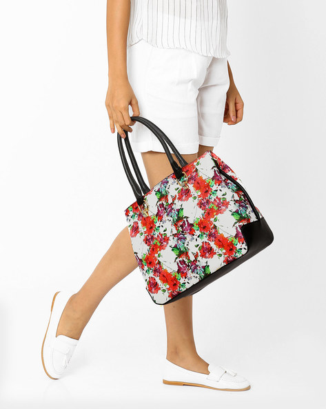 Floral Print Handbag By AJIO ( White )