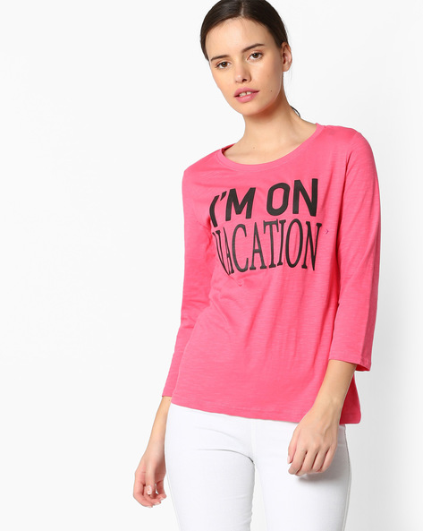 Graphic Print Crew-Neck T-shirt By RIO ( Pink )