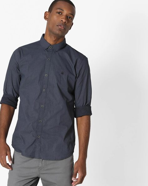 Geometric Print Cotton Shirt By UNITED COLORS OF BENETTON ( Black )