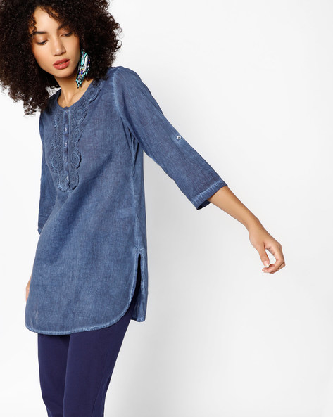 Kurti With Floral Crochet By Melange By Lifestyle ( Navy )