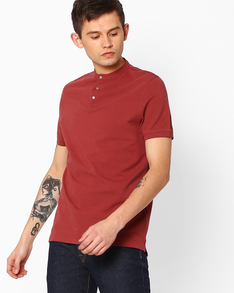 T-shirt With Band Collar By SELECTED ( Bronze )