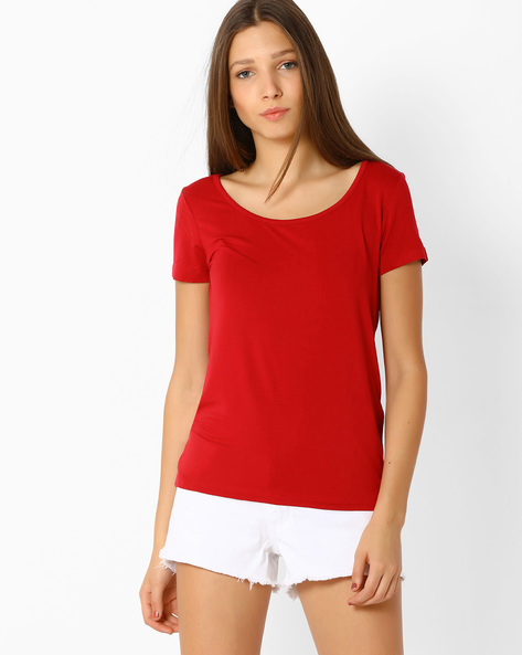 T-shirt With Scoop Back By Only ( Red )