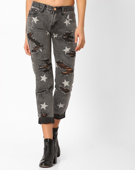Star Print Distressed Mom Jeans By Glamorous ( Grey )