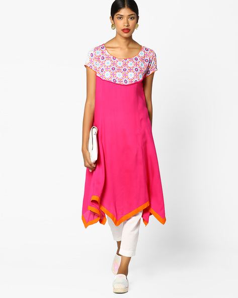 Floral Print Kurta With Handkerchief Hemline By Melange By Lifestyle ( Pink )