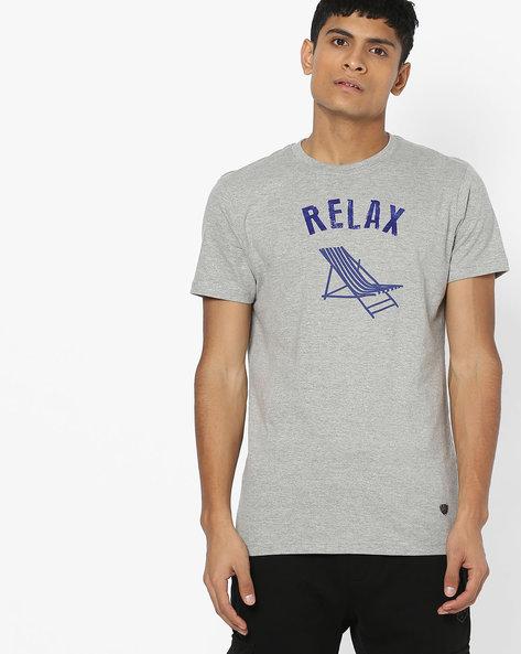 Typographic Print Slim Fit T-shirt By JOHN PLAYERS ( Gray )