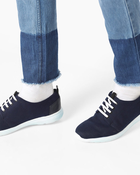 Low-Top N9-Treated Lace-Up Sneakers By AJIO ( Navy )