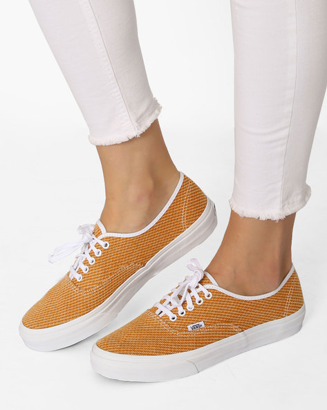Authentic Jersey Print Casual Shoes By Vans ( Gold )