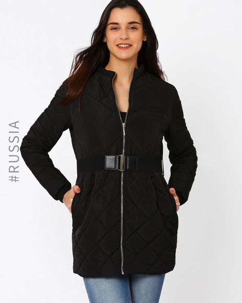 Quilted Jacket With Belt By Kira Plastinina ( Black )