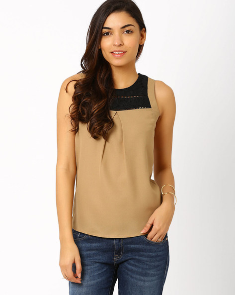 Top With Lace Yoke By The Vanca ( Beige )