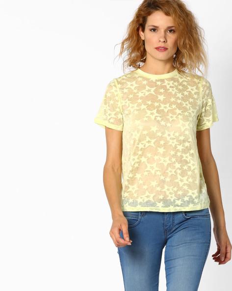 Star Print Crew-Neck T-shirt By Vero Moda ( Yellow )