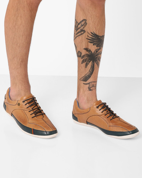 Perforated Genuine Leather Lace-Up Shoes By BUCKAROO ( Tan )