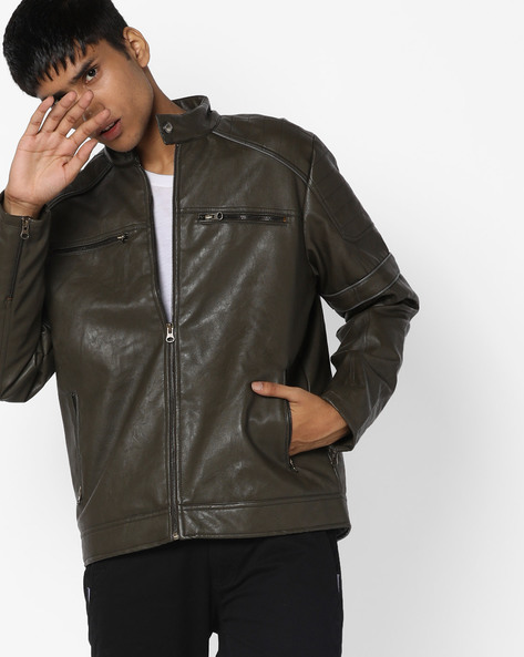 Textured Jacket With Raglan Sleeves By AJIO ( Olive )