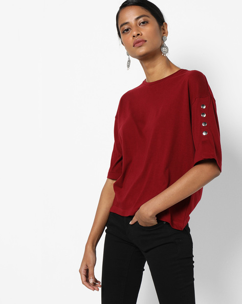 Crew-Neck Top With Button Accents By AJIO ( Red )